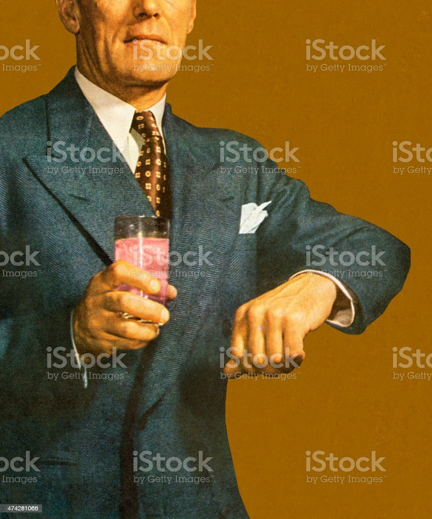 Man Holding Arm up and Holding Drink vector art illustration