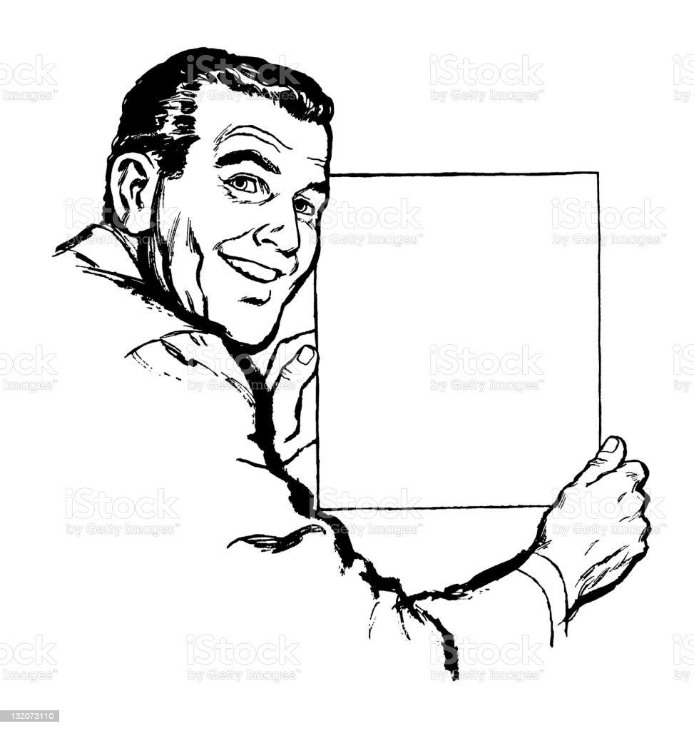 Man Holding Blank Sheet of Paper vector art illustration