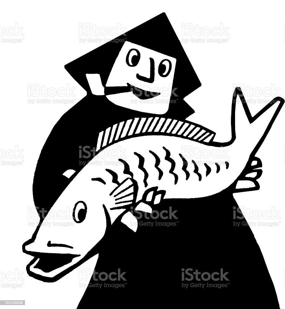 Man Holding Fish royalty-free stock vector art
