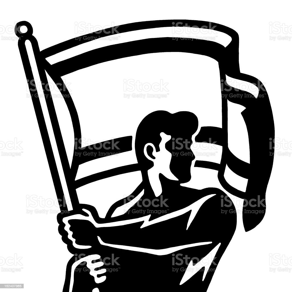 Man Holding Flag royalty-free stock vector art