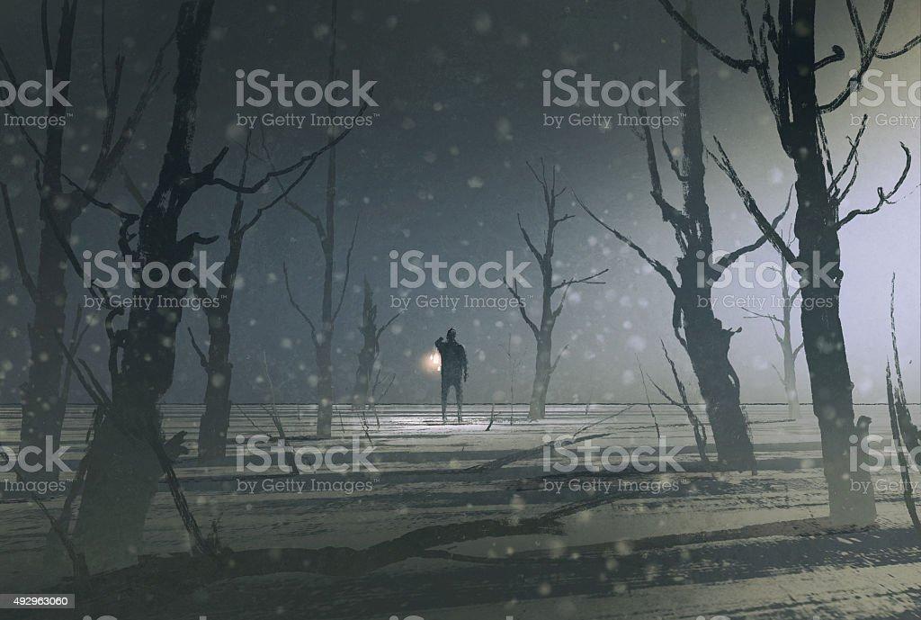man holding lantern stands in dark forest with fog vector art illustration