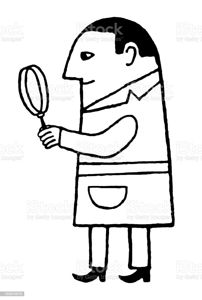 Man Holding Magnifying Glass royalty-free stock vector art