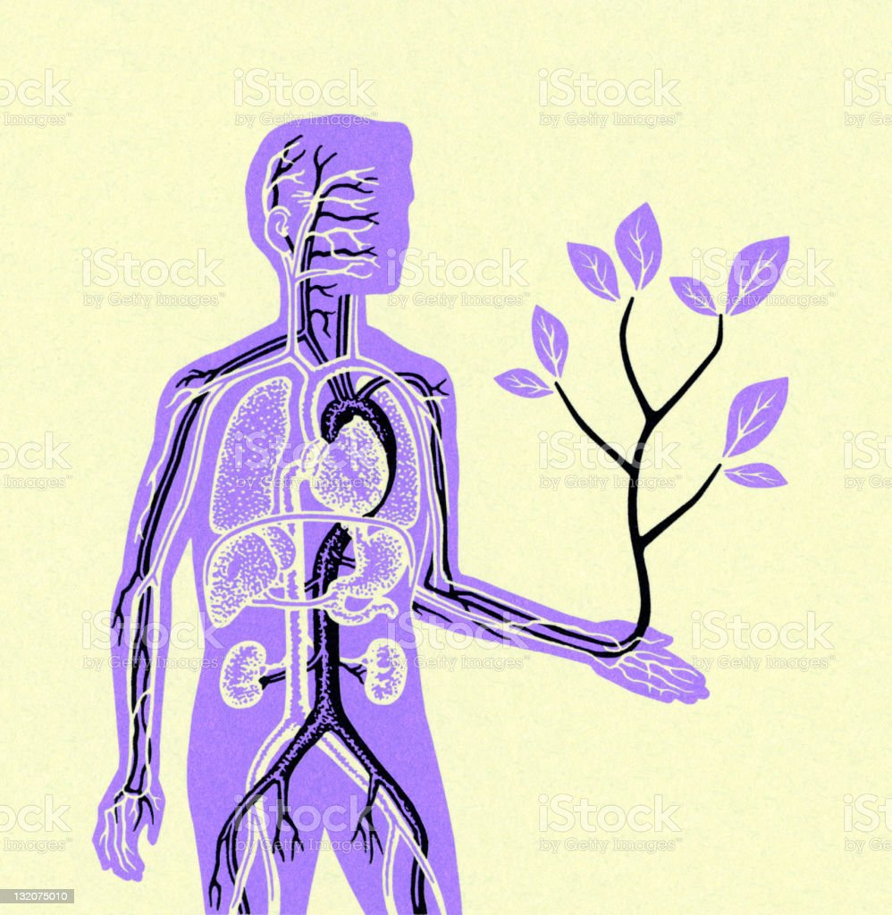 Man Holding Small Tree royalty-free stock vector art
