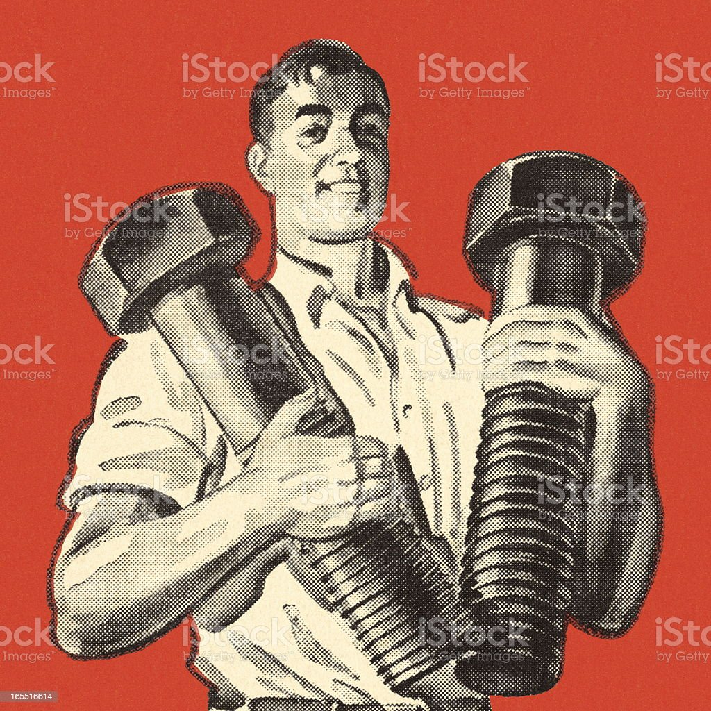 Man Holding Two Giant Bolts vector art illustration