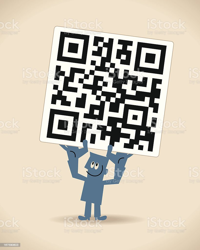 Man Holding Up a QR Code royalty-free stock vector art