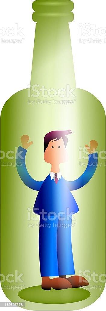 Man in a Bottle royalty-free stock vector art