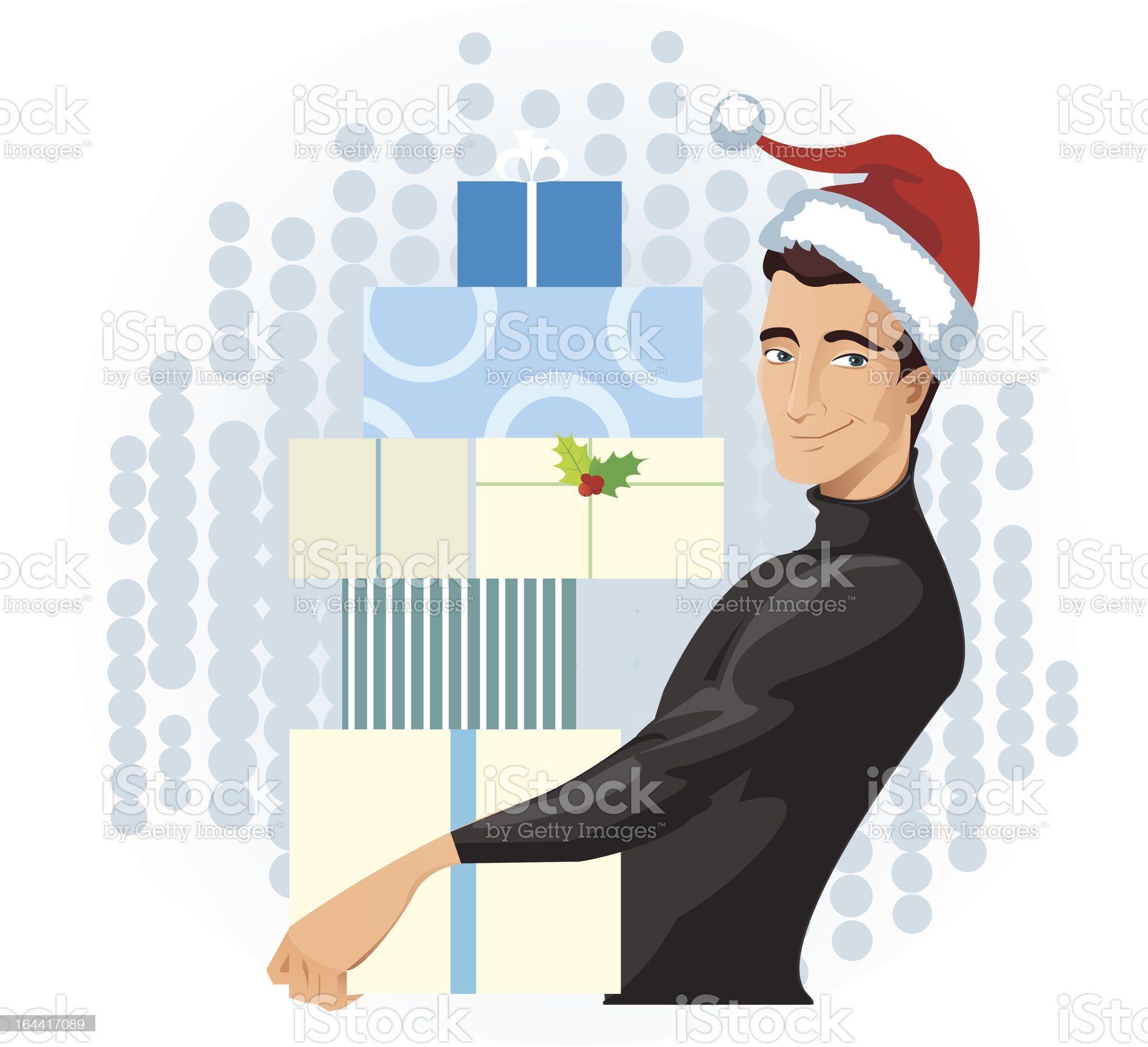 man in a Santa hat with presents royalty-free stock vector art
