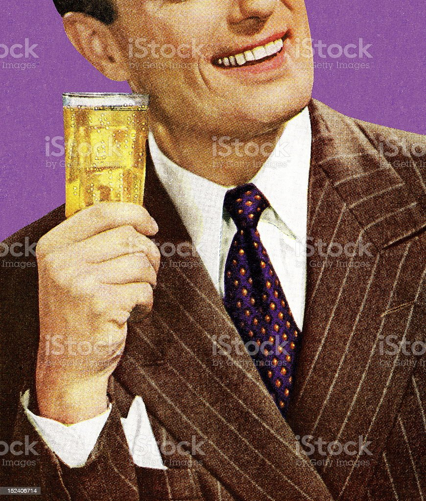 Man in Brown Suit Holding Drink royalty-free stock vector art