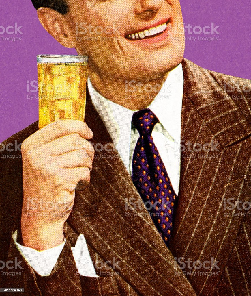 Man in Brown Suit Holding Drink vector art illustration