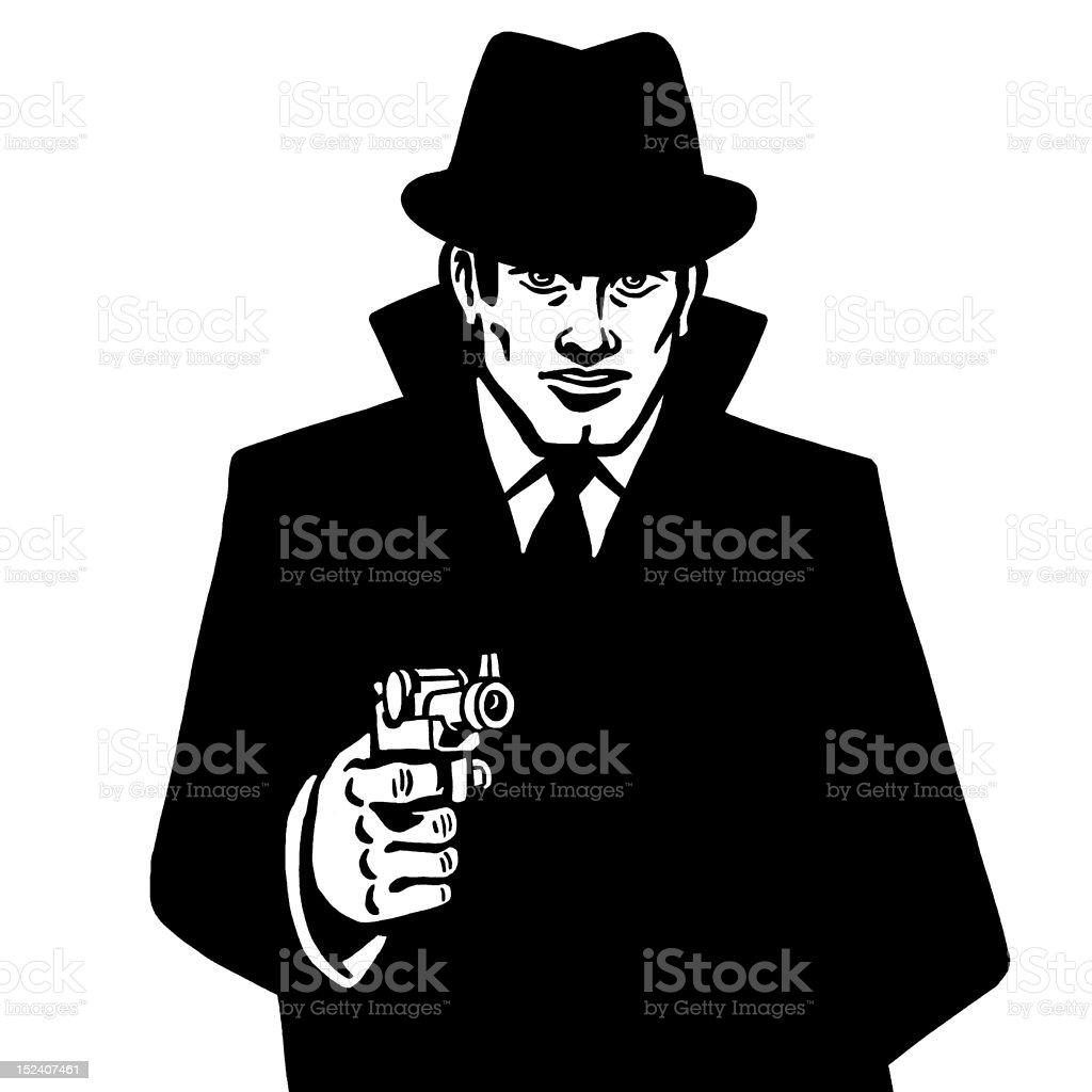 Man in Hat Pointing Gun royalty-free stock vector art