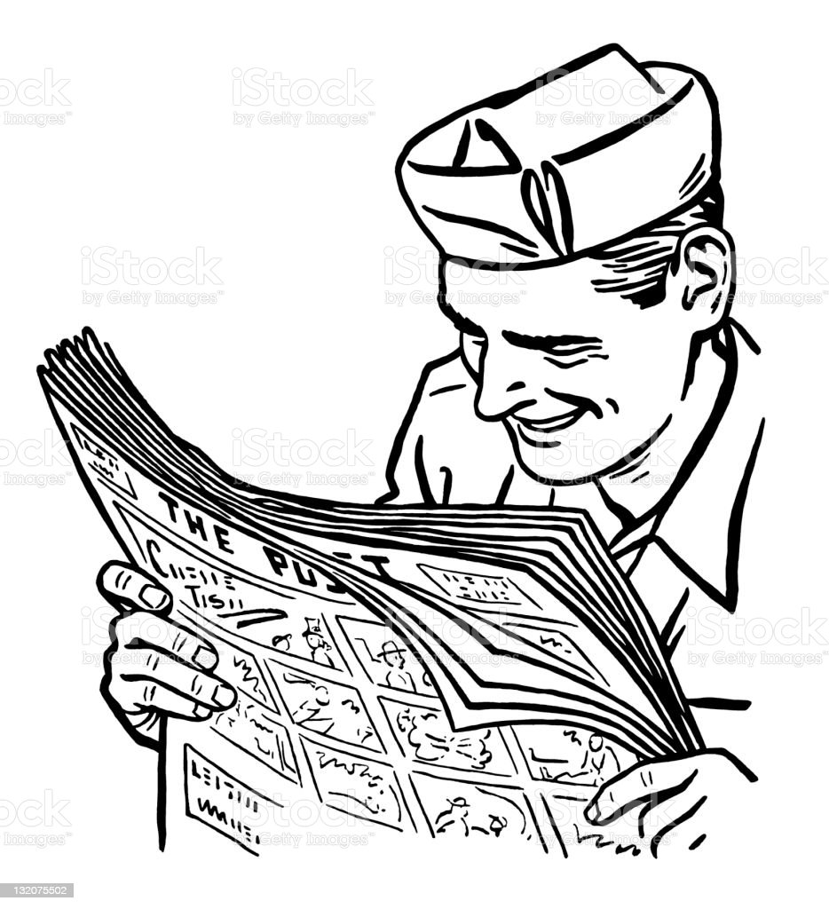 Man in Hat Reading Newspaper royalty-free stock vector art
