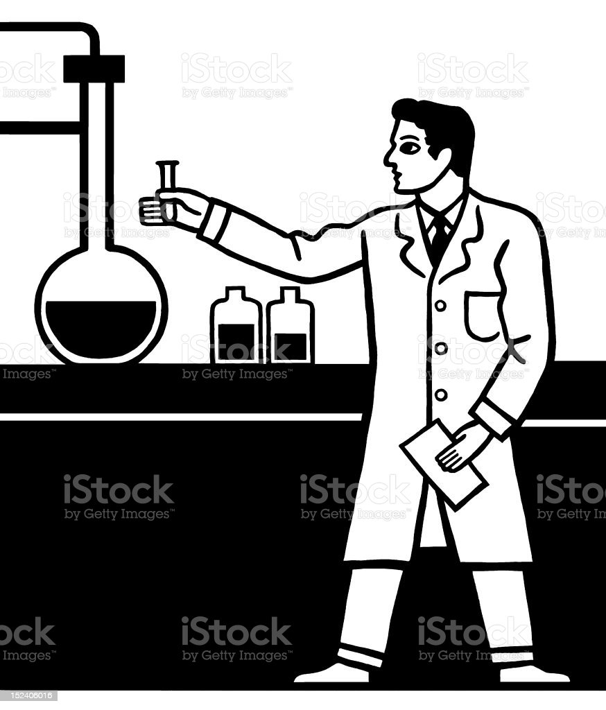 Man in Laboratory royalty-free stock vector art