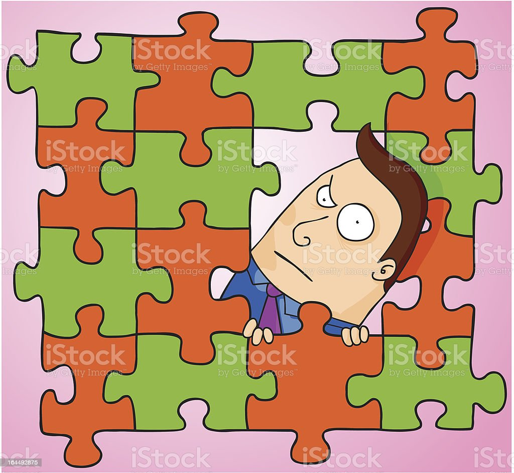 Man in middle of puzzle royalty-free stock vector art