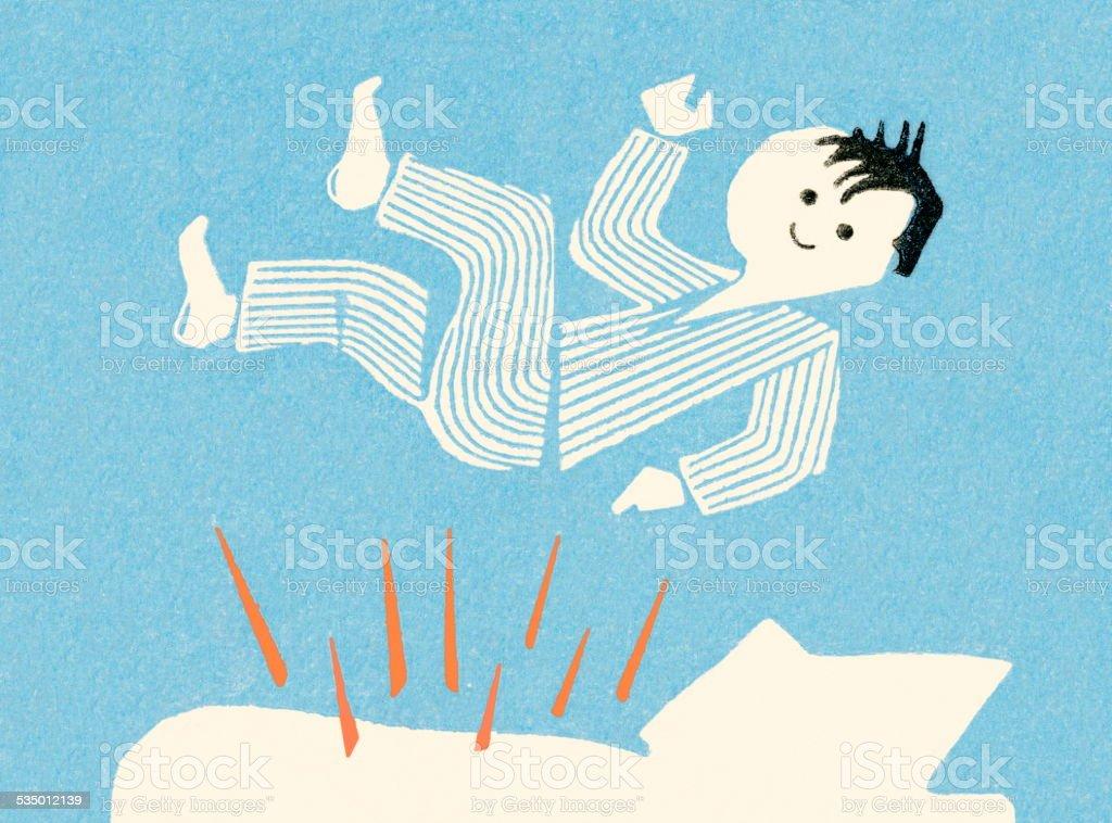 Man in pajamas waking up vector art illustration