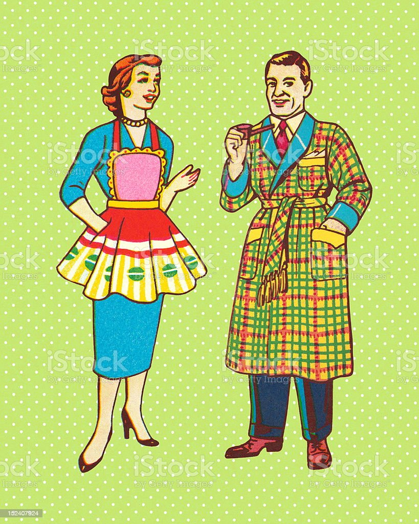 Man in Robe and Woman in Apron royalty-free stock vector art