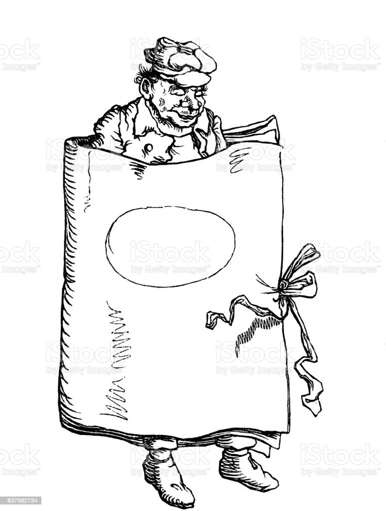 Man in the book - 1867 vector art illustration