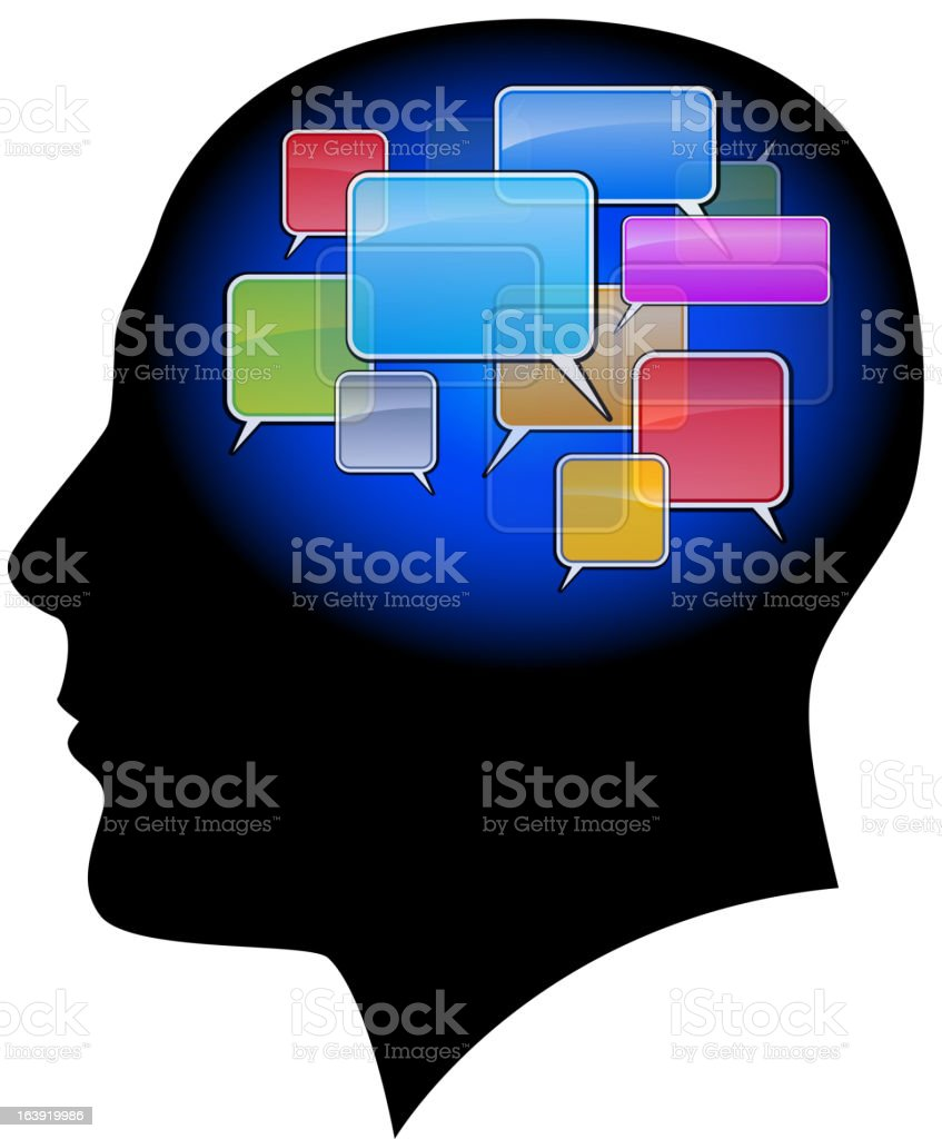 Man in the head with sms. royalty-free stock vector art