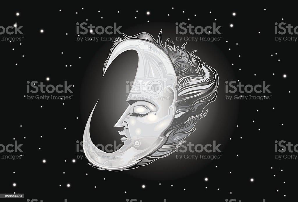 Man In The Moon vector art illustration