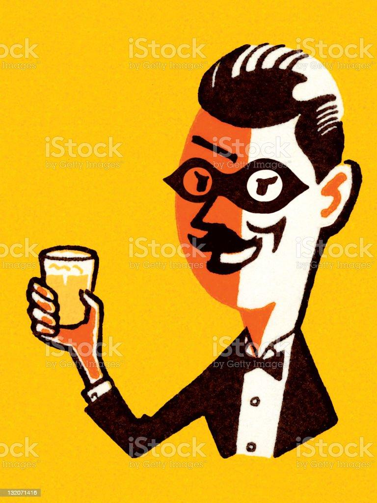 Man in Tuxedo Proposing a Toast vector art illustration