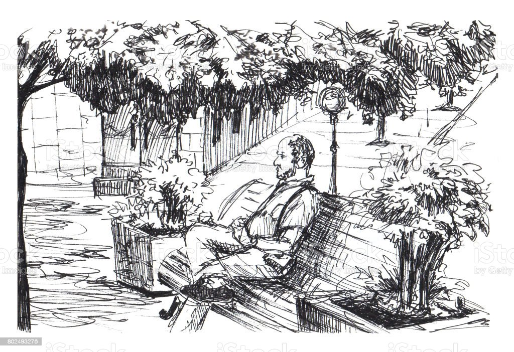 Man is sitting on bench in park. Man is resting on bench in small European town. Ink sketch. vector art illustration