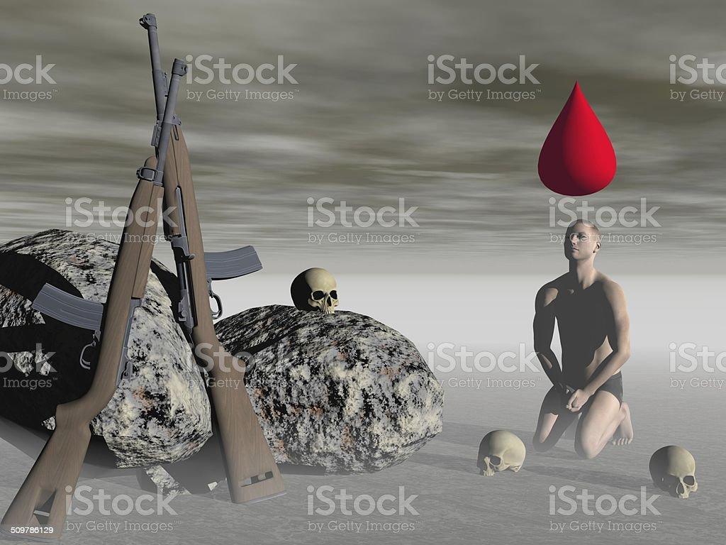 Man lays down arms - 3d render vector art illustration