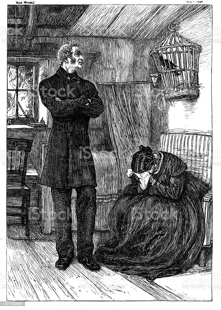 Man looking at birdcage woman weeping from 1867 journal vector art illustration