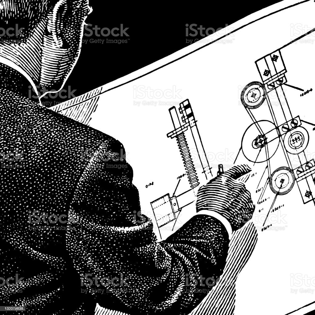 Man Looking at blueprints royalty-free stock vector art