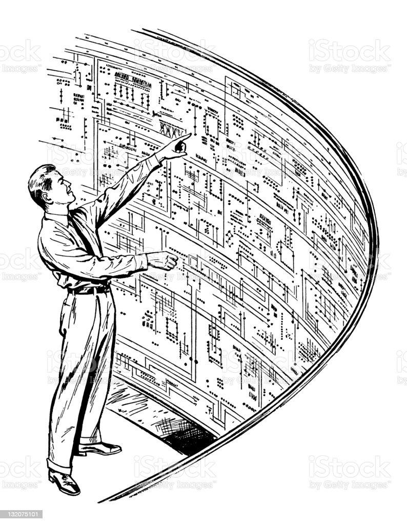 Man Looking at Diagram royalty-free stock vector art