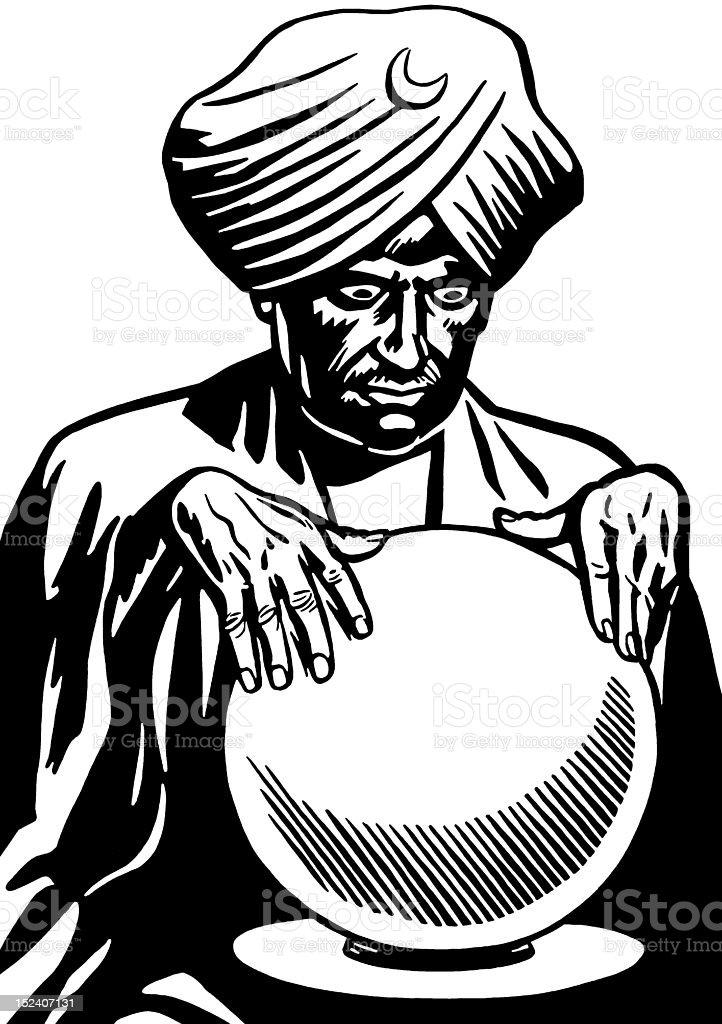 Man Looking Into Crystal Ball vector art illustration