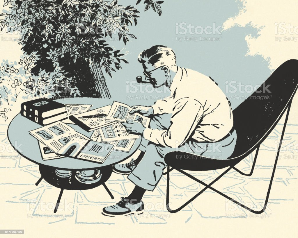 Man Looking Over Papers vector art illustration