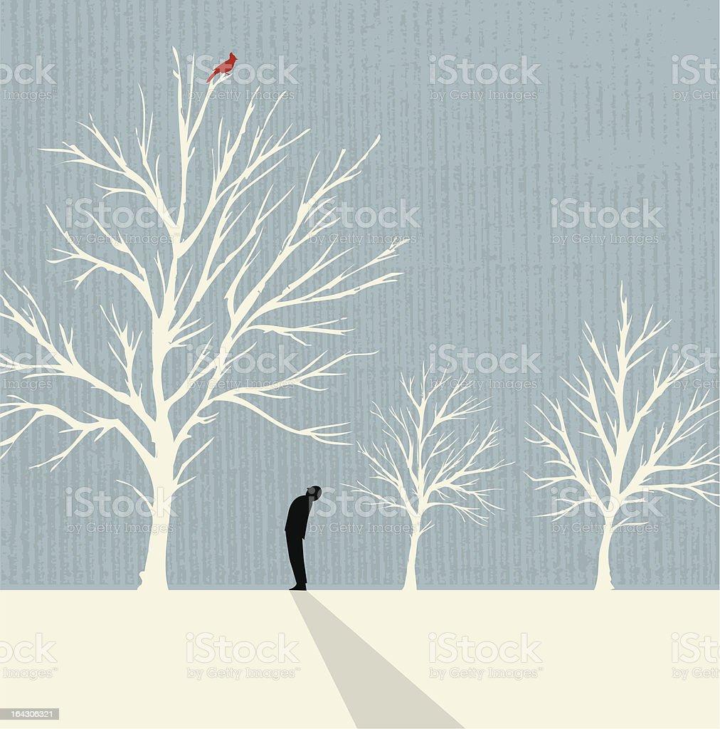 Man Looking up at Cardinal vector art illustration