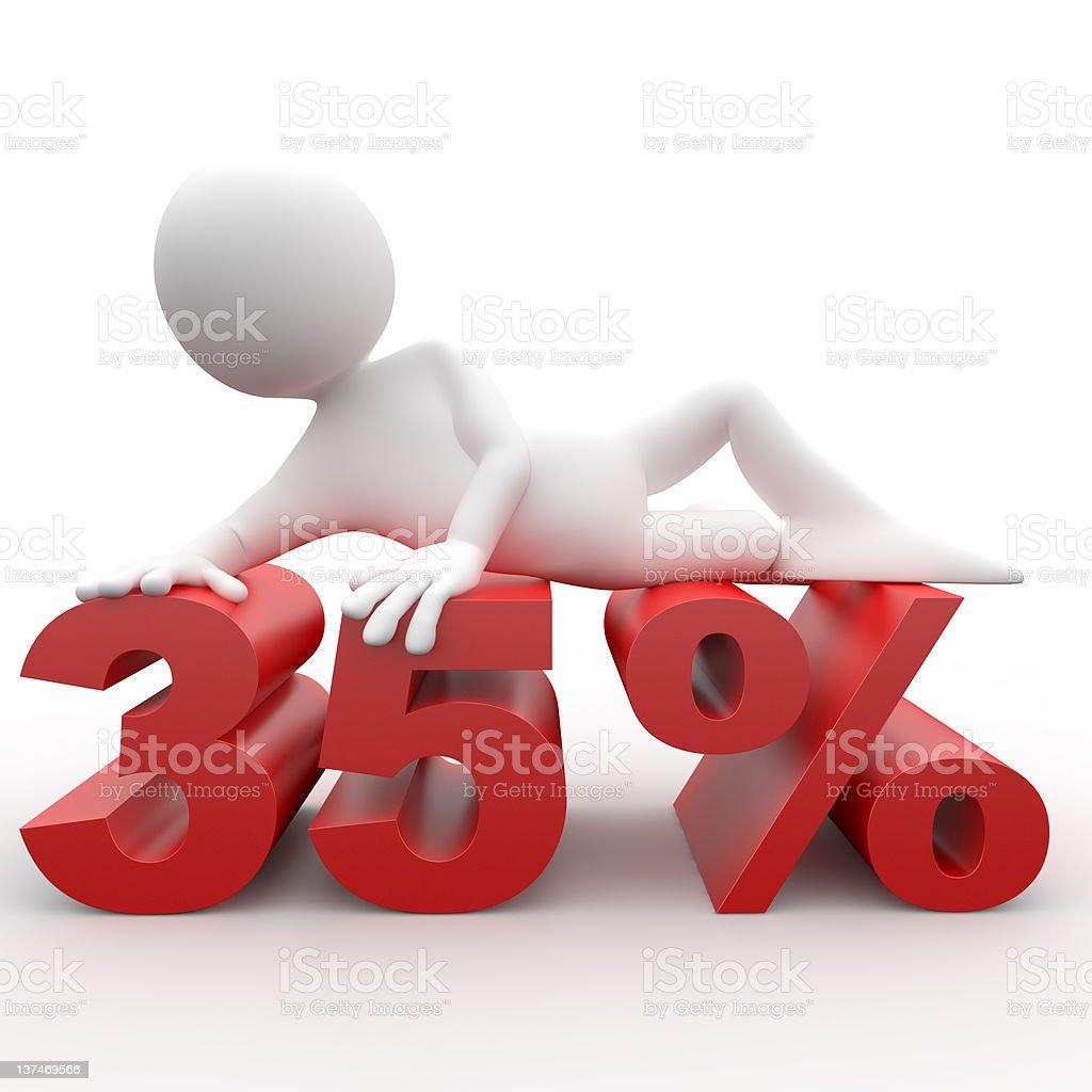 Man lying on the 35 percent vector art illustration