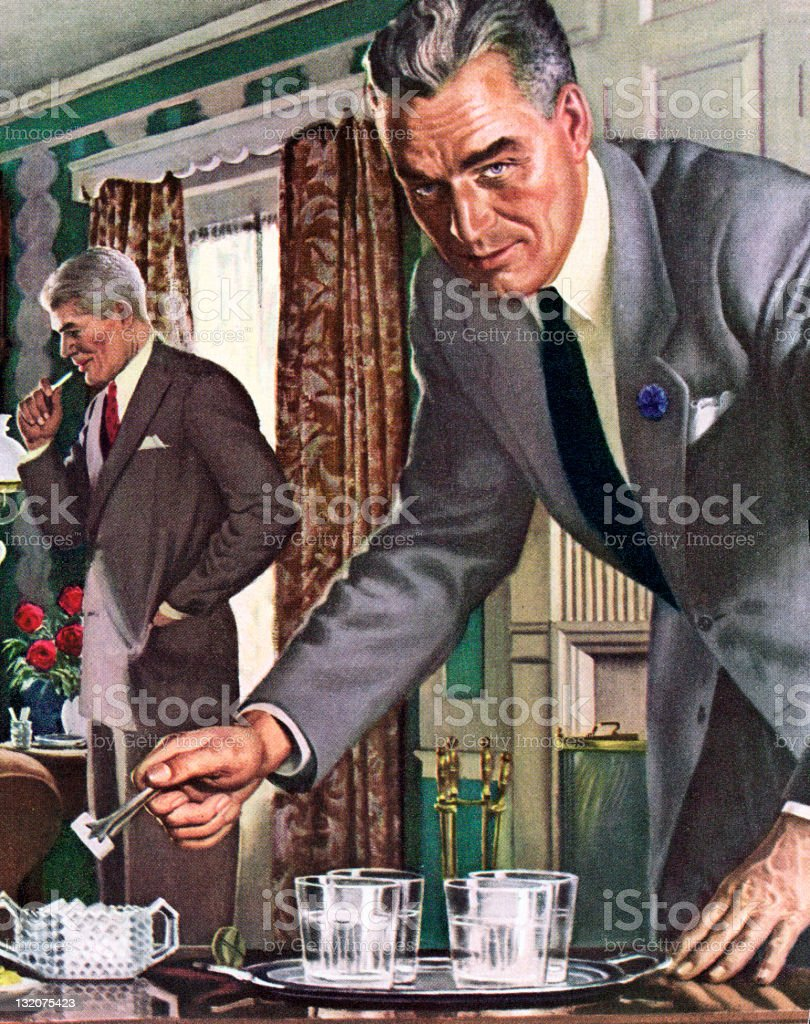 Man Making Drinks royalty-free stock vector art