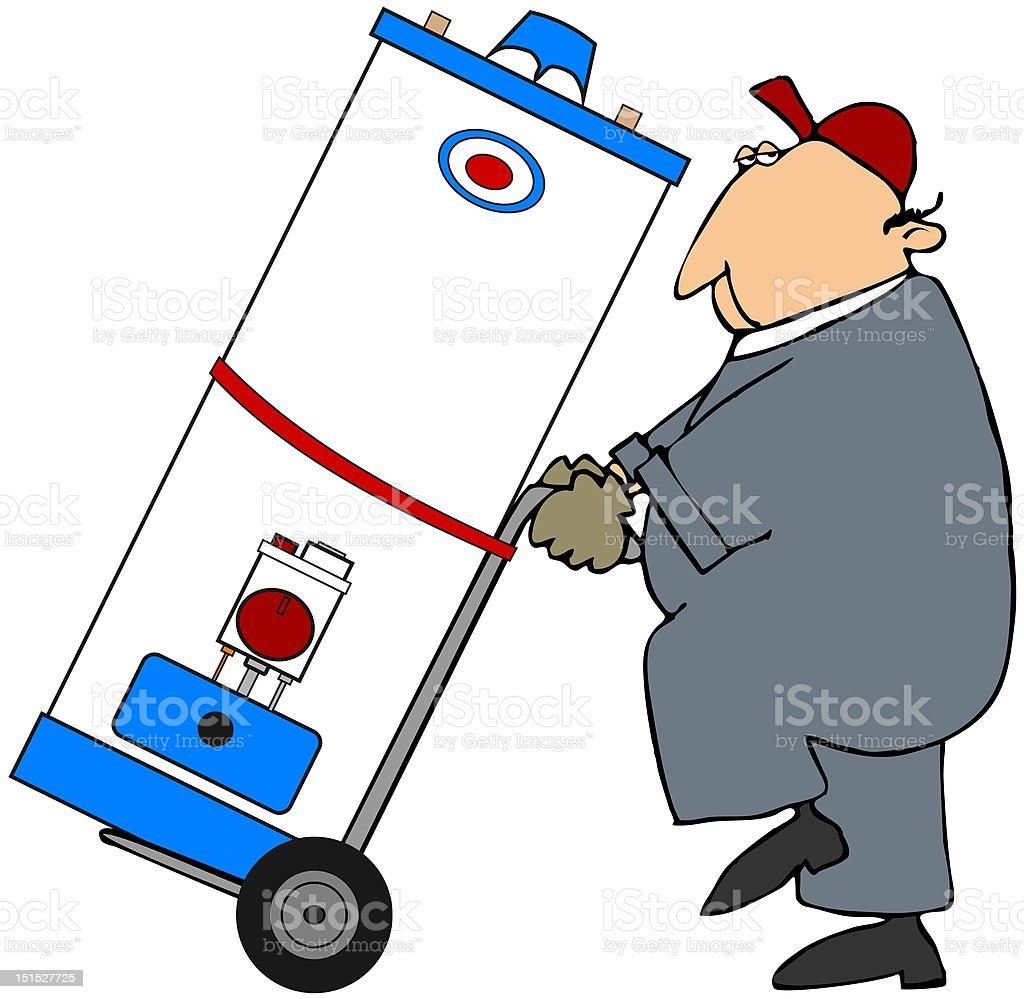 Man Moving A Water Heater royalty-free stock vector art