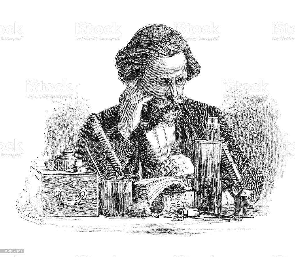 Man of Science vector art illustration