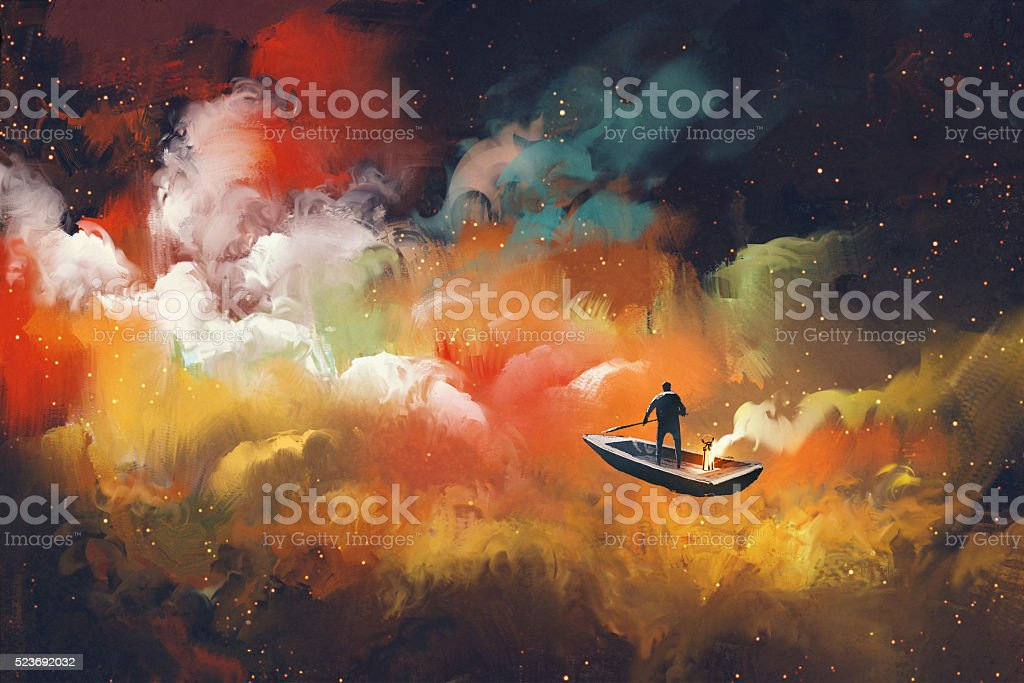 man on a boat in the outer space vector art illustration