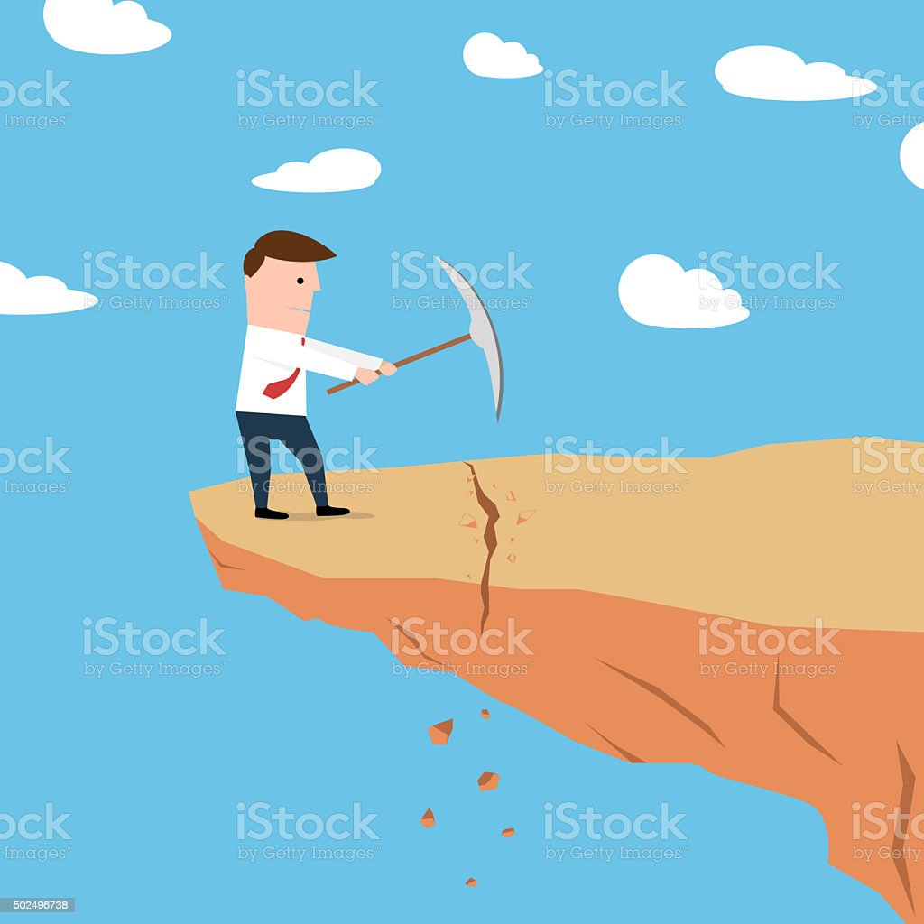 Man on a cliff edge digging ground vector art illustration