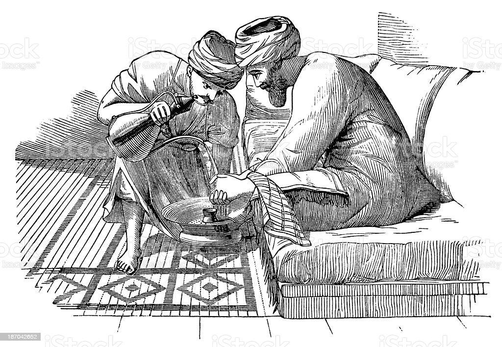 Man On A Divan vector art illustration