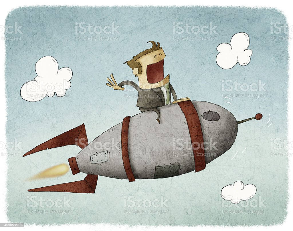 man on a rocket and flying through the air vector art illustration