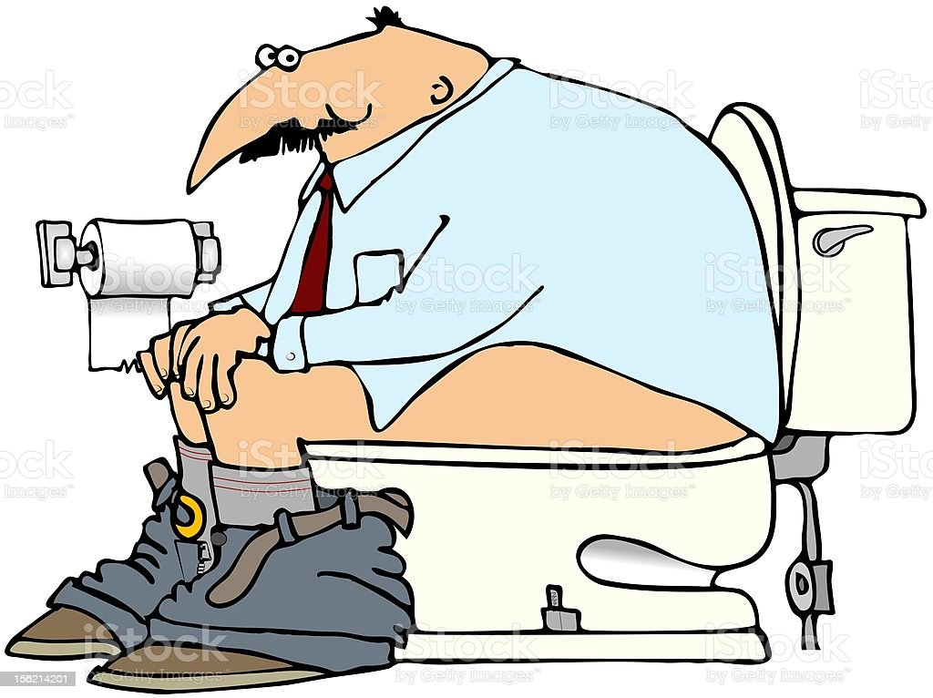 Man On A Toilet vector art illustration