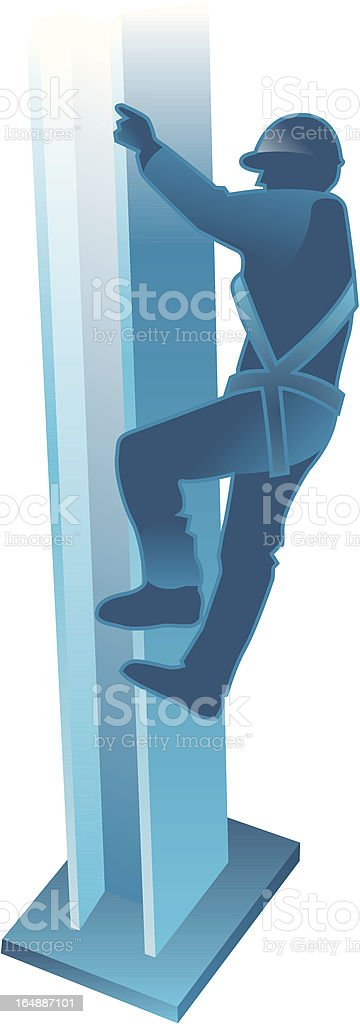 Man on Beam with Safety Harness vector art illustration