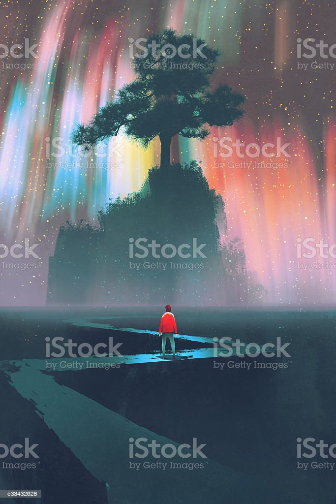 man on winding road to the big tree vector art illustration