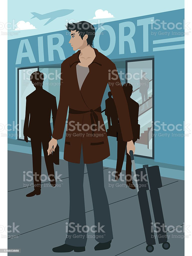 man outside an airport royalty-free stock vector art