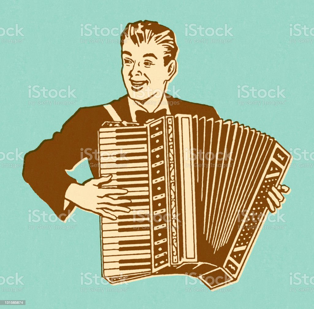 Man Playing Accordian royalty-free stock vector art
