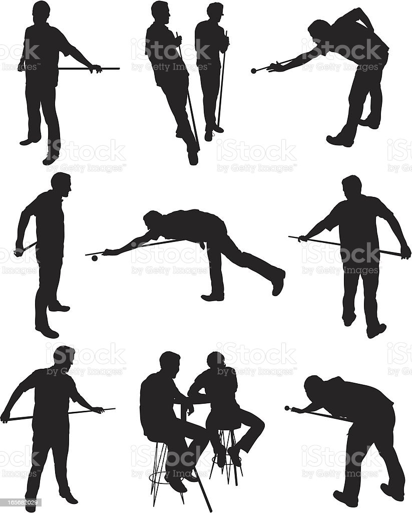 Man playing billiards vector art illustration