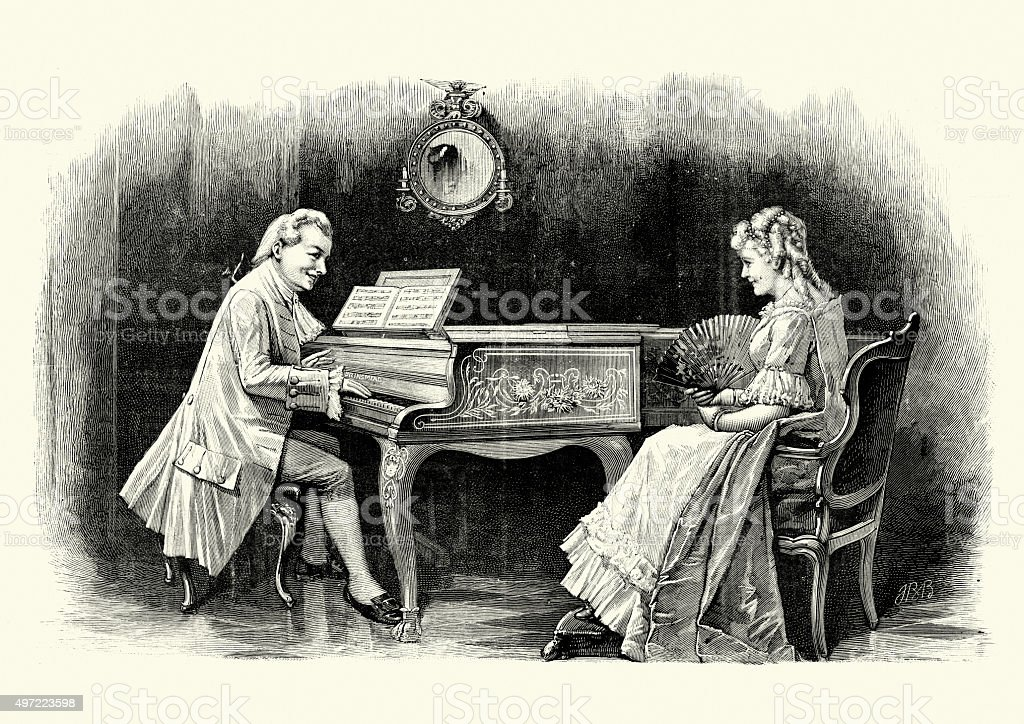 Man playing the piano for a young woman vector art illustration