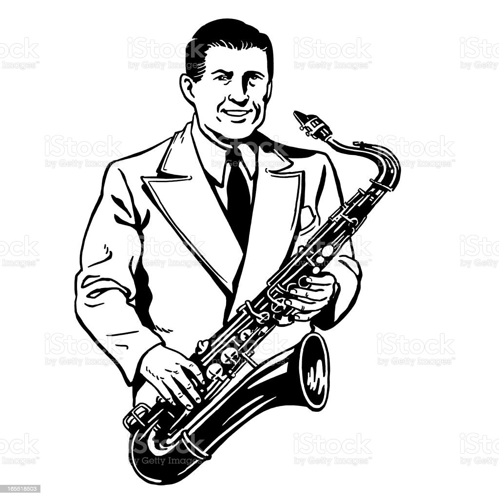 Man Playing the Saxophone royalty-free stock vector art