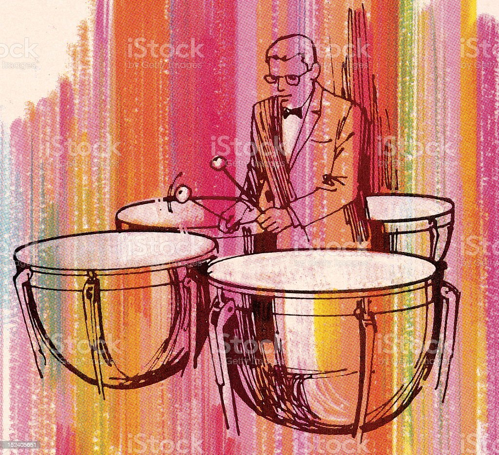 Man Playing Timpani royalty-free stock vector art