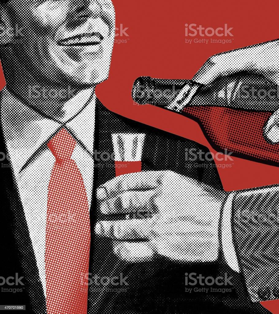 Man Pouring Drink vector art illustration