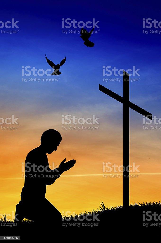 man praying under the cross vector art illustration